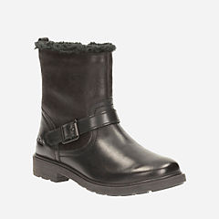 Ines Remi Toddler Black Leather girls-boots