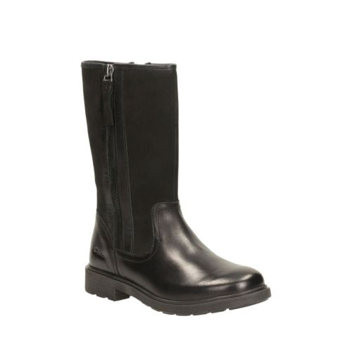 Ines Rain Youth Black Leather girls-boots