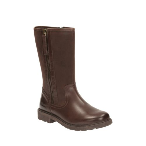 Ines Rain Youth Brown Leather girls-boots