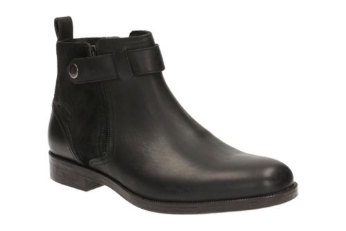 Brocton Mid Black Leather mens-ortholite
