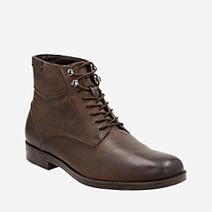 Brocton Hi Dark Brown Leather mens-ortholite