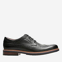 Melshire Wing Black Leather mens-ortholite