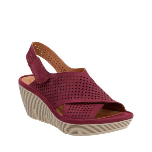 Clarene Award Plum Nubuck womens-sandals-wedge
