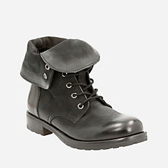 Minoa River Black Leather womens-ankle-boots