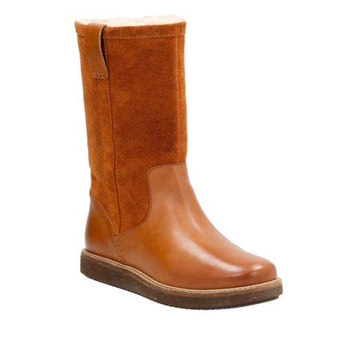 Glick Elmfield Tan Leather/Tan Suede Combi womens-midcalf-boots