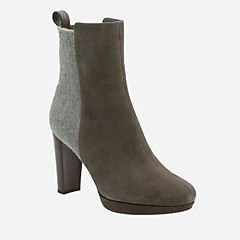 Kendra Porter Dark Grey Suede womens-ankle-boots