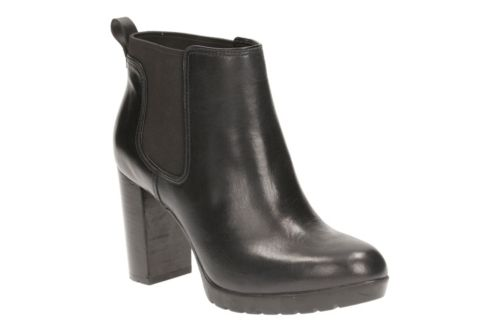 Elipsa Dee Black Leather womens-ankle-boots