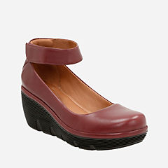 Clarene Tide Burgundy Leather womens-wide-fit-heels