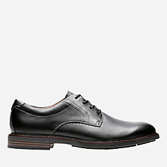 Unelott Plain Black Leather mens-oxfords-lace-ups