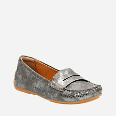 Doraville Nest Pewter Snake Leather womens-wide-fit-flats