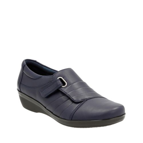 Everlay Luna Navy Leather womens-wide-width