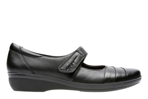 Everlay Kennon Black Leather womens-wide-width