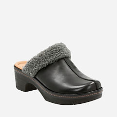 Preslet Grove Black Leather womens-clogs