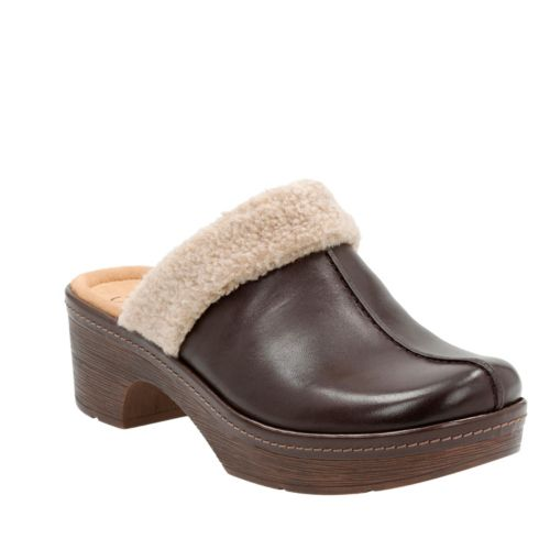 Preslet Grove Dark Brown Leather womens-clogs