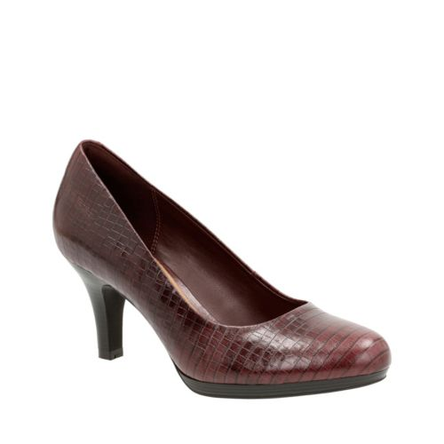 Brenna Maple Burgundy Croc Leather womens-wide-width
