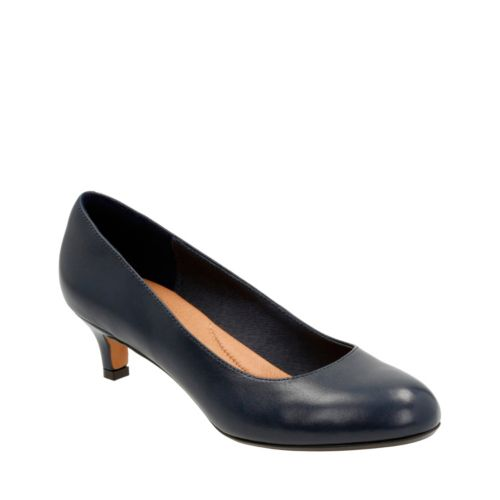 Heavenly Shine Navy Leather womens-wide-width
