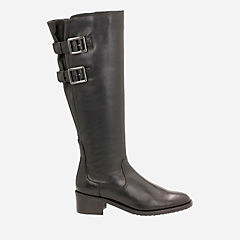Valana Diem Black Leather womens-knee-boots