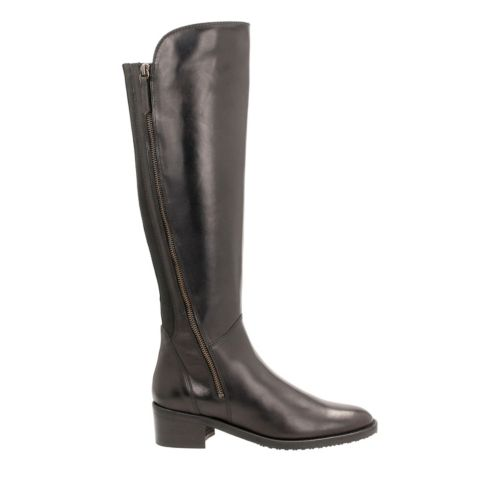 Valana Melrose Black Leather womens-knee-boots