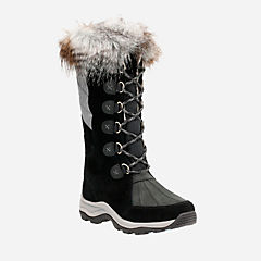 Wintry Hi Black Suede womens-waterproof