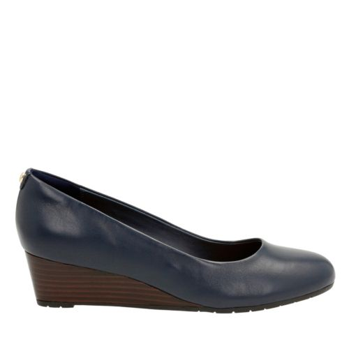 Vendra Bloom Navy Leather womens-wide-width