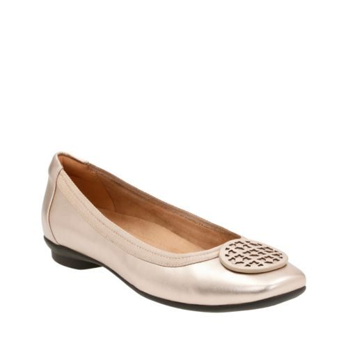 Candra Blush Gold Metallic Leather womens-extra-wide-width