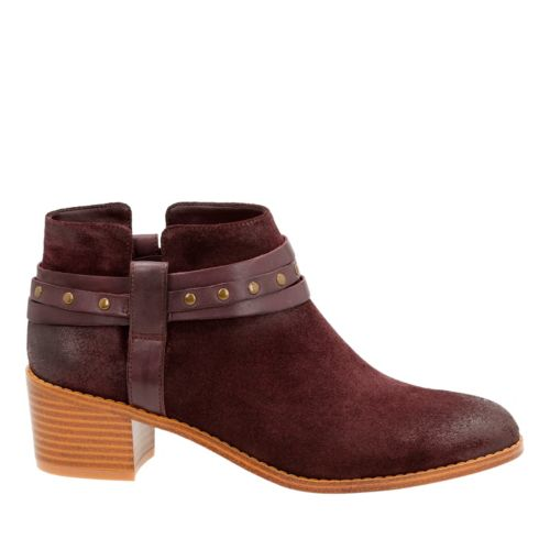 Breccan Shine Aubergine Suede womens-ankle-boots