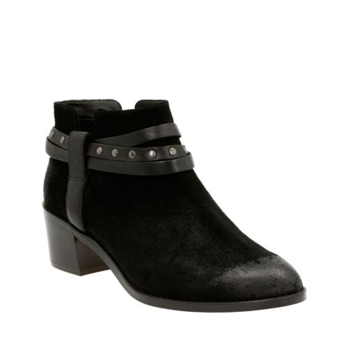 Breccan Shine Black Suede womens-ankle-boots