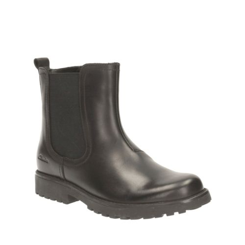 Rhea Amber Toddler Black Leather girls-boots