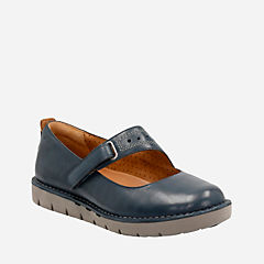 Un Briarcrest Navy Leather womens-wide-width