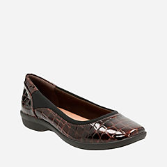 Haydn Pearl Brown Croco Patent womens-flats