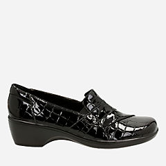 May Marigold Black Croco Patent Synthetic womens-view-all