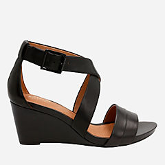 Acina Newport Black Leather womens-sandals-wedge