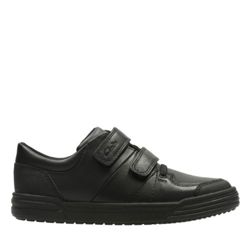 Chad Racer Youth Black Leather kids-school-shoes