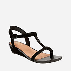 Parram Blanc Black Suede womens-sandals-wedge