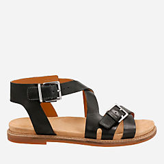 Corsio Bambi Black Leather womens-flat-sandals
