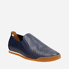 Siddal Step Dark Blue Lea mens-loafer-slip-on