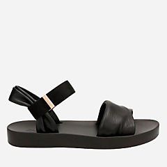 Seanna Sun Black Leather womens-sandals