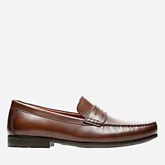 Claude Lane Brown Leather mens-loafer-slip-on