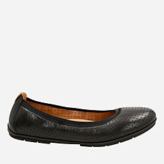 Un Tract Black Leather womens-flats