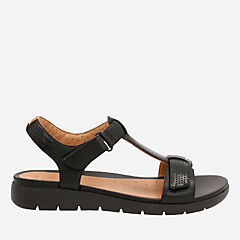 Un Haywood Black Leather womens-flat-sandals