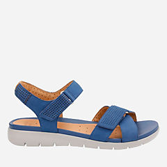 Un Saffron Dark Blue Nubuck womens-flat-sandals