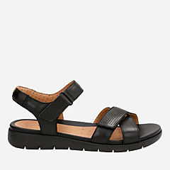 Un Saffron Black Leather womens-flat-sandals
