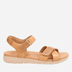 Un Saffron Light Tan Leather womens-flat-sandals