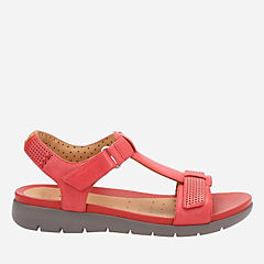 Un Haywood Red Leather womens-flat-sandals