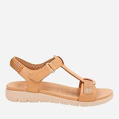 Un Haywood Light Tan Leather womens-flat-sandals