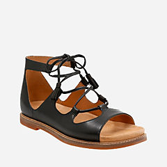 Corsio Dallas Black Leather womens-flat-sandals