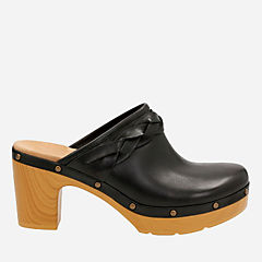 Ledella Meg Black Leather womens-clogs