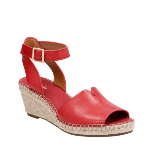 Petrina Selma Red Leather Womens Wedge Sandals Clarks
