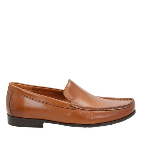Claude Plain Tan Leather mens-loafer-slip-on