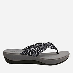 Arla Glison Black w/White Dots Fabric womens-flip-flops-sandals